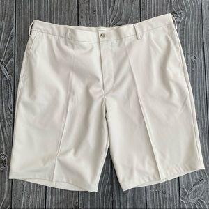 Men's Shorts Cream Size 40 Slim-Fit Flat Front